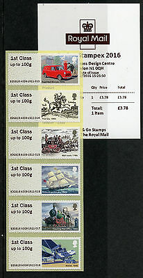 GB 2016 MNH Royal Mail Heritage Post & Go Spring Stampex 6v 1st Class Strip A008