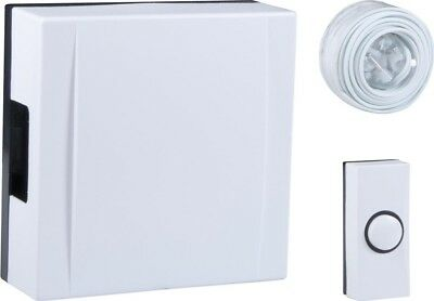 Byron 720 Wired Wall Mounted Battery Door Bell Chime Kit | White