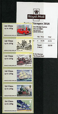 GB 2016 MNH Royal Mail Heritage Post & Go Spring Stampex 6v 1st Class Strip A006