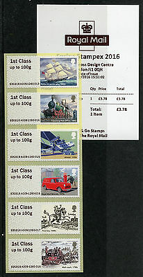 GB 2016 MNH Royal Mail Heritage Post & Go Spring Stampex 6v 1st Class Strip A009