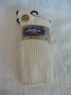 Maggie'S Organics Cotton Crew Socks Tri-Pak Natural 3 Pairs New 9-11 Made In Usa