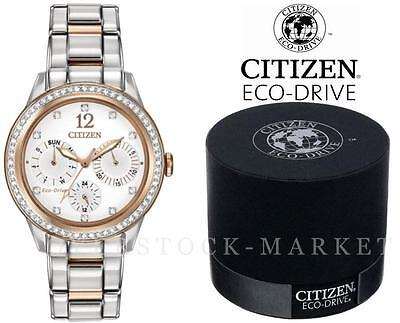 NEW! Women's CITIZEN FD2018-56A Eco-Drive Two-Tone Crystal Accented Solar Watch!