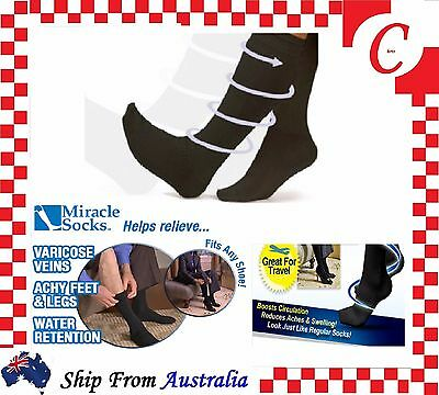 Compression MIRACLE SOCKS Aching Feet Varicose Veins Flight Travel Anti-Fatigue