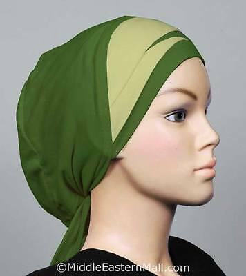 Cotton blend Hijabs  Black Abayas Envelope Pleat Bonnet # 3 Green Ships from USA