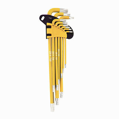 WORKPRO 9PC Long Arm Star Key Set CR-V SAE Metric Allen L Wrench Tool T10-T50