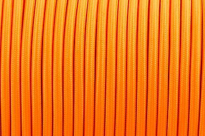 Orange Round Silk Braided Vintage Fabric Coloured Lighting Cable 2 core 0.75mm
