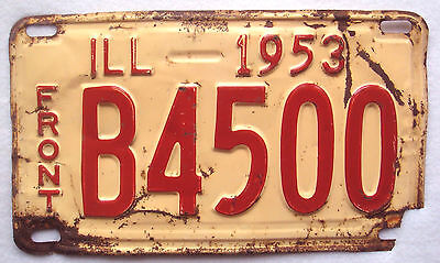 Illinois 1953 Truck Vintage License Plate Garage Old Shorty Tag Front Pickup