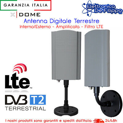 Antenna Amplificata TV digitale terrestre Interno Esterno UHF VHF 46 dB LTE