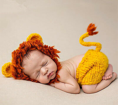 Crochet Newborn Photography Boy Infant Knit Lion Hats Pants Set Baby Photo Props