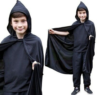 Childrens Fancy Dress Hooded Cape Black Kids Childs Cloak New AC-9025 W