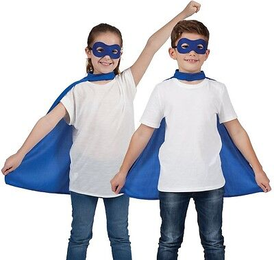 Childs Halloween Fancy Dress Kit Cape & Mask Blue Childs Kids Cloak New w