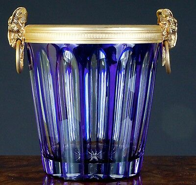 Vintage French Cobalt Cut-to-Clear Crystal Ice Bucket