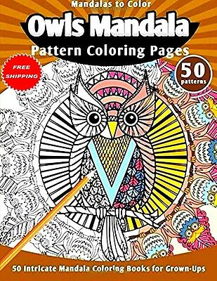 Coloring Book For Adults Owls Mandala 50 Patterns Art Therapy Anti Stress Relief