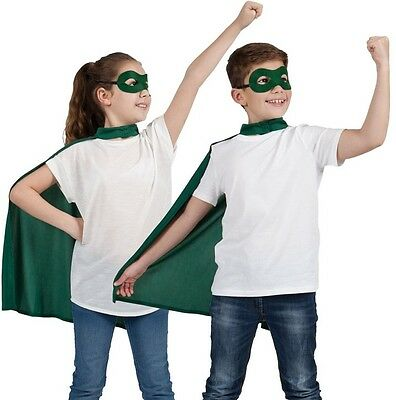 Childs Halloween Superhero Fancy Dress Kit Cape & Mask Green Childs Cloak New w