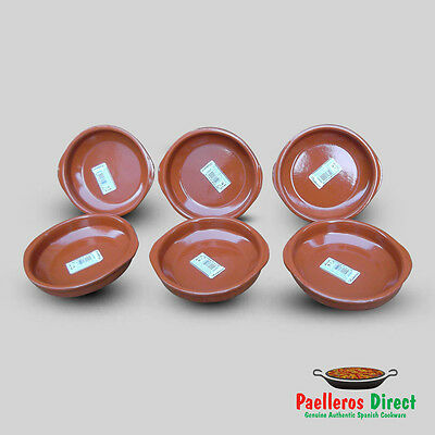 Set of 6 x 14cm Spanish Terracotta Tapas Dishes / Cazuelas