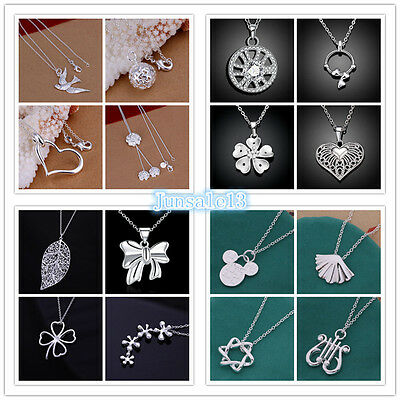 New Arrival Womens 925 Silver Jewelry Pendant & Chains Necklaces Ladys Xmas Gift