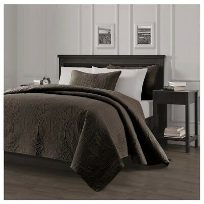 Pinsonic Quilted Austin Oversize Bedspread Coverlet 3-piece King Set, Chocolate