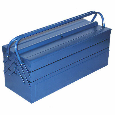 """Large 21"""" 53.5cm Metal Cantilever Toolbox Tool Box Storage 5 Tray Chest #1808"""