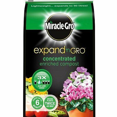 Miracle-Gro Expand 'n Gro Concentrated Enriched Compost expands to 50 Litres
