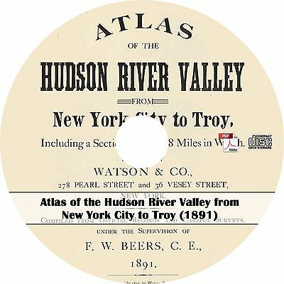 1891 Atlas of the Hudson River Valley from New York City to Troy - Book on CD