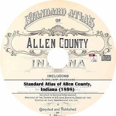 1898 Allen County, Indiana Plat Book & Atlas - Maps History on CD