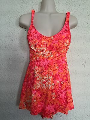 COLORFUL VTG 1960s 70s CATALINA FLORAL NYLON SWIMSUIT W MATCHING OVERSKIRT Small