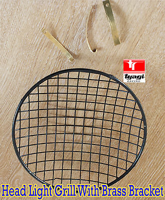 """7"""" Phare Protection Grille Royal Enfield Norton Bsa Moto Noir Support"""