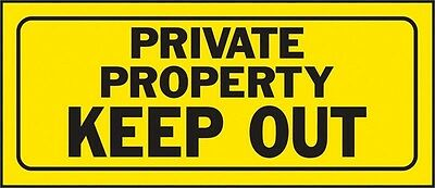 "Hy-Ko Plastic Sign Yellow 14"" X 6"" Private Property Keep Out Polyethylene-PK 5"