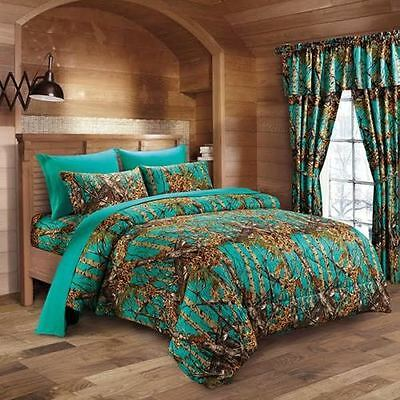 7 Pc Teal Camo Comforter And Sheet Set Queen Camouflage Woods