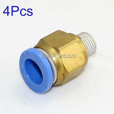 "4 Pcs Male 1/8"" - 10mm Straight Push in Fitting Pneumatic Push to Connect"