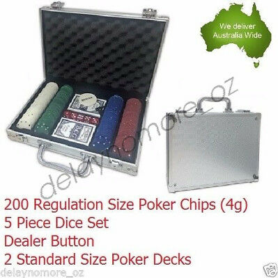 200 DELUXE Poker Chips Aluminium case set Playing card Game Party Casino Chip