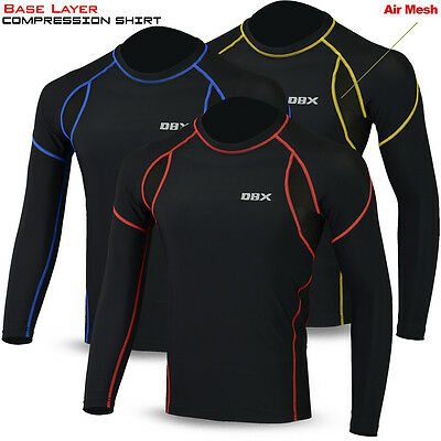 Mens Full Sleeve Compression Base Layer Shirt Top Body Skin Sweat Wicking