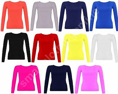 Kids Girls Casual Stretch Long Sleeved Round Neck Plain T Shirt Ages 7-13 Years