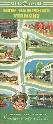 1951 CITIES SERVICE Road Map VERMONT NEW HAMPSHIRE Concord Nashua Manchester