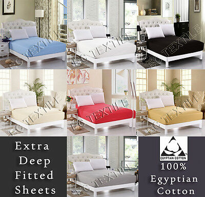 200 Thread Count 100% Egyptian Cotton Hotel Quality Soft Fitted Sheets All Sizes