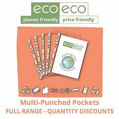 eco-eco Stationery Recycled Glass Clear Punched Pockets Plastic Wallets A5/A4/A3