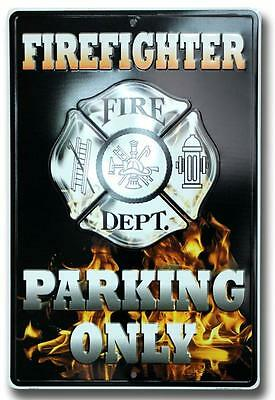 Firefighter Parking Only Metal Sign Fire Dept Station Maltese Cross Flames