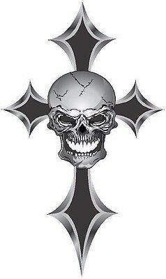 Simulated chrome skull and cross vinyl graphic decal
