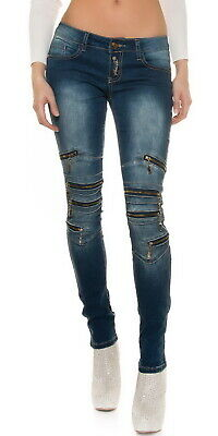 Women's Knee Zip Slim Skinny Stretch Denim Jeans - XS/S/M/L/XL
