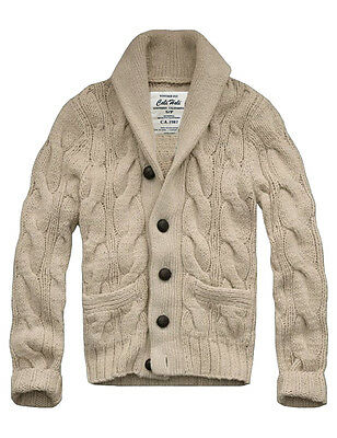 Ship From US! $158 MENS CALI HOLI SHAWL COLLAR CABLE KNIT CARDIGAN SWEATER BEIGE