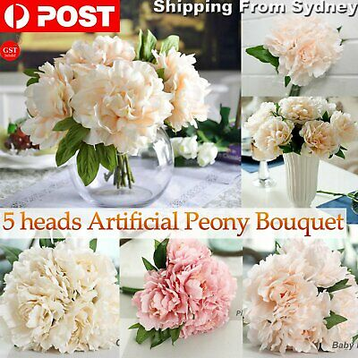 1x Artificial Peony Flowers Silk Bouquet Flower Bridal Home Wedding Vase Decor