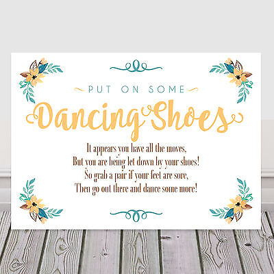 408554ee1 Yellow Dancing Shoes Tired Feet Wedding Sign for Flip Flop Basket 3 FOR 2  (Y10