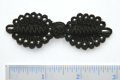 6 pairs black  w/silver beads Chinese Frogs buttons sewing hand made NEW