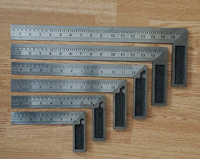"""Set Try Square Woodwork Carpenter 6"""" 8"""" 10"""" 12"""" 14"""" 16"""" / NEW SINGLE OR SET"""