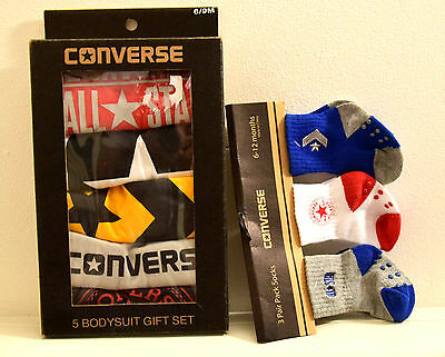 New   X 5  Converse Bodysuit & 3 Pair Socks Gift Boxed Baby Boys 6-9 Months