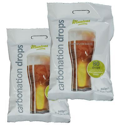 2x Muntons Carbonation Drops 80 160g Sugar Tablets for priming beer & cider