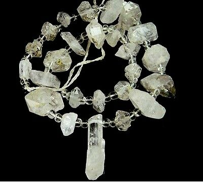 Antique Raw Rough Clear Crystal Stone Middle Eat Bead Necklace