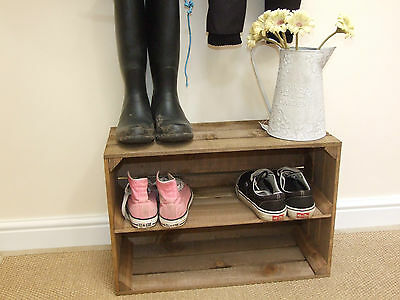 Shabby Chic Wooden Shoe Rack, New, Handmade Vintage Style Shoe Rack Apple Crate