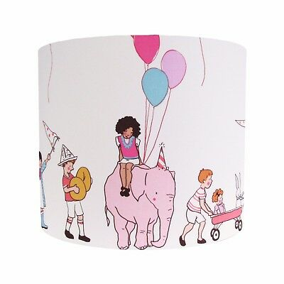 Lampshade White Pink Michael Miller On Parade Elephant Girls Baby Nursery