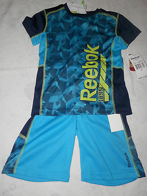 NWT-Boys 2 Piece Reebok Logo Short Set--Bright Navy Color--Size 6 and 7--Rack2